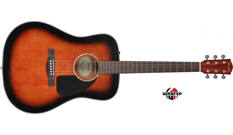 FENDER CD60 SB DS V2 Акустична гітара дека - ялина, обечайка, задня дека - черв. дерево, колір санбурст