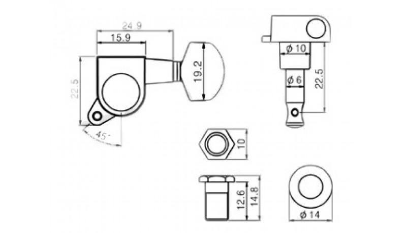 PAXPHIL J-02 3+3 BK Кілки для електрогітари 45гр