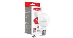 MAXUS 1-LED-543 Лампа світлодіодна G45 6W тепле світло E14