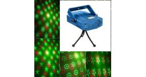 HOT TOP MINI2 Лазер міні двохколірний, червоний 100mw + зелений 30mw, 2 гобо, феєрверк, кут 180 градусів, звукова активація, автоматичні програми